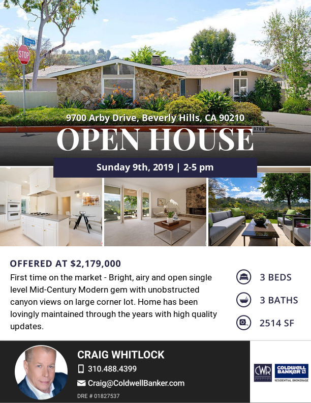 Open House tomorrow 2-5PM in Prime Beverly Hills!